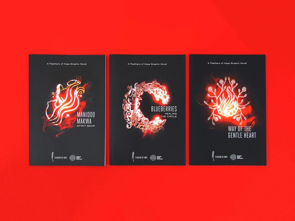 Les trois romans graphiques de Plumes d'espoir. Photo par Zahra Agjee