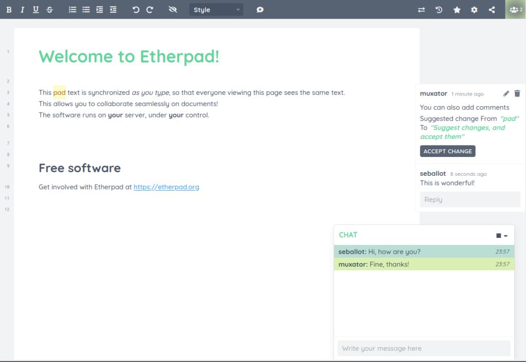 Interface d'Etherpad, outil alternatif