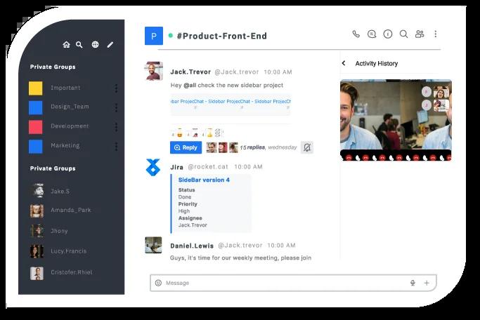 Interface de Rocket Chat, une solution professionnelle sécurisée